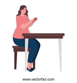 plus size woman cartoon with book at desk vector design