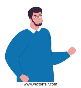 plus size man   with beard and glasses vector design