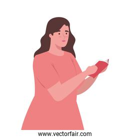 plus size woman cartoon with book vector design