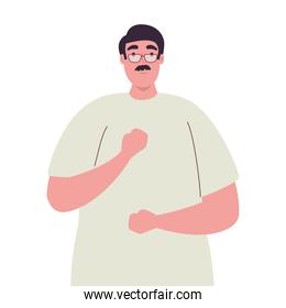 plus size man cartoon with mustache and glasses vector design