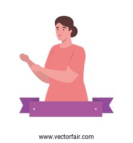 plus size woman cartoon with ribbon vector design