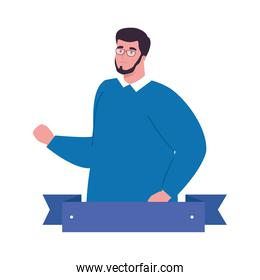 plus size man cartoon with beard glasses and ribbon vector design