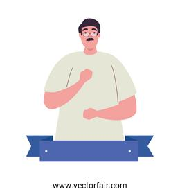 plus size man cartoon with mustache glasses and ribbon vector design