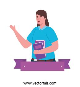 plus size woman cartoon with books and ribbon vector design