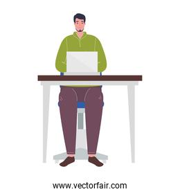 Man with laptop at desk working vector design