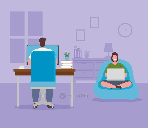 telework, young couple working from home