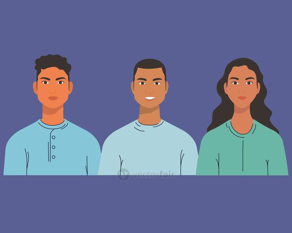 multiethnic group of people, diversity and multiculturalism concept
