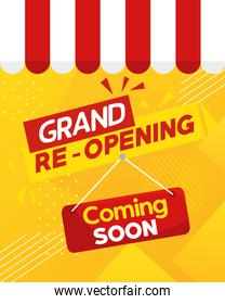 grand reopening banner, with coming soon label and parasol