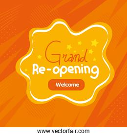 banner of grand reopening on orange background