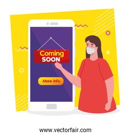 coming soon message in smartphone, woman wearing face mask, reopening after quarantine due to covid19