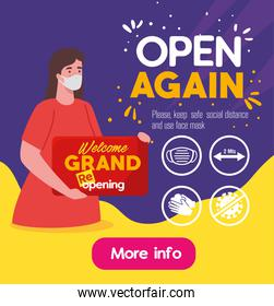 open again, woman using face mask with label welcome gand reopening, with rules prevention covid 19