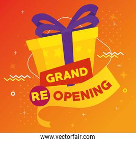 banner of grand reopening with gift box present