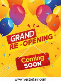 banner of grand reopening, coming soon with balloons helium decoration