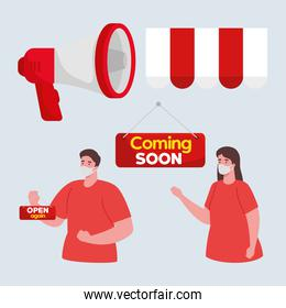 coming soon and open again labels, with couple wearing medical mask