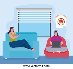 telework, women in the living room, working from home