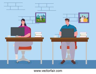 telework, young couple working from home, home office concept