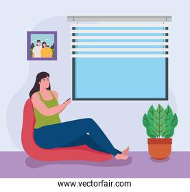 telework, young woman working from home