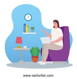 telework, young woman with laptop, working from home