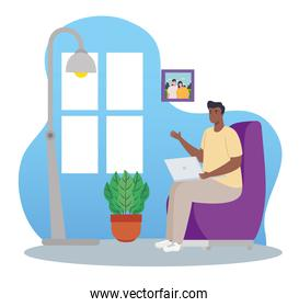 telework, man afro with laptop, working from home