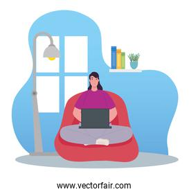 telework, woman using laptop, working from home