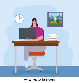 telework, woman with computer in desk, working from home