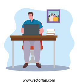 telework, man with laptop in desk, working from home