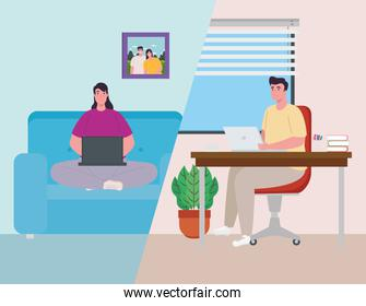 scenes telework, young couple working from home