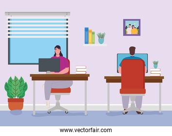 telework, couple working from house, home office concept