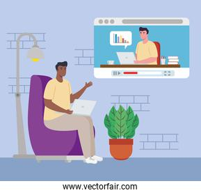telework, men in video conference of working from home