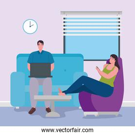 telework, young couple working from house