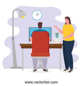 telework, young couple working from house, concept of home office