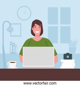 telework, woman with laptop working from home