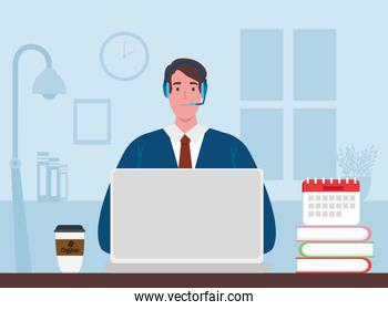 telework, agent male call center working from home