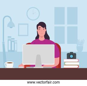 telework, young woman with laptop working from home