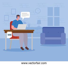telework, agent male call center working from house
