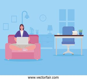 telework, woman in the living room, working from home