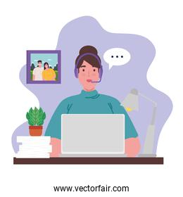 telework, agent female call center working from home