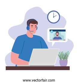 telework, man working from home in video conference with teamwork
