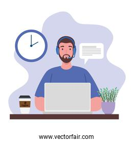 telework, agent male call center working from home scene