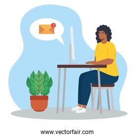 telework, woman afro with computer in desk, working from home