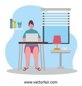 telework, agent female call center working from house
