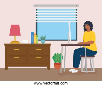 telework, woman afro working from home