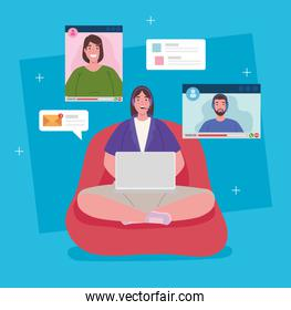 telework, woman sitting in pouf working from home in video conference