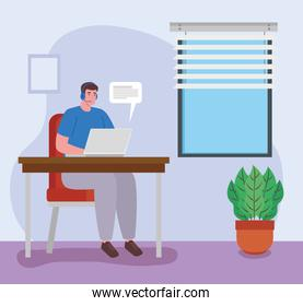 telework, agent male call center, working from home