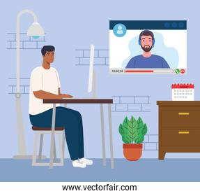 telework, man afro working from home in video conference with teamwork