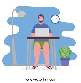 telework, young man in casual clothing working from home
