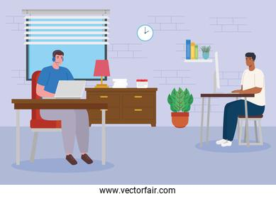 telework, group men working from home