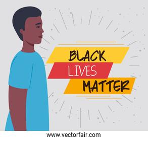 black lives matter, man african in profile, stop racism
