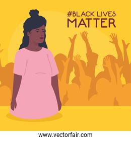 black lives matter, woman african with silhouette of protesting people, stop racism concept