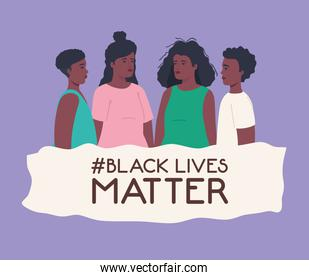 black lives matter, group people african in purple background, stop racism